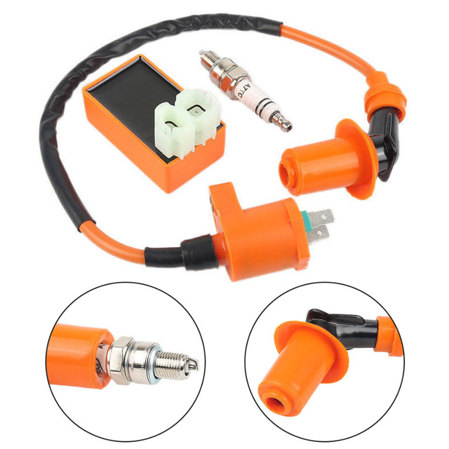 Motorbike Ingition Set 1pc Racing CDI + Spark Plug + Ignition Coil Kits For GY6 50/125/150CC 4 stroke Scooter Parts