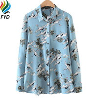 Women Blouse Fashion Light Blue Cranes Birds Print Shirt New 2017 Casual Long Sleeve Lapel Collar