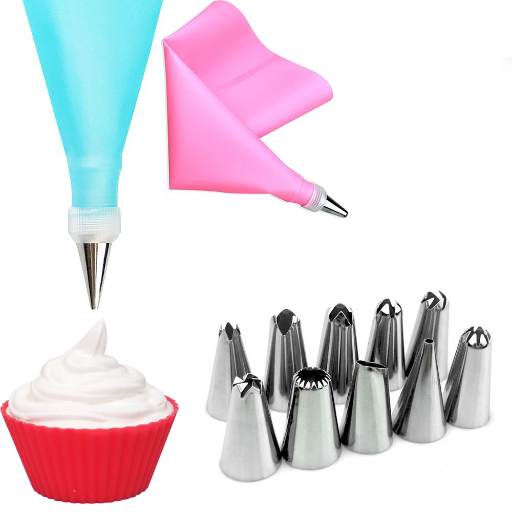 12Pcs/Set Cake Decorating Tools Silicone Icing Piping Cream Pastry Bag + 68 Stainless Steel Nozzle Pastry Tips Converter