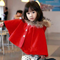 2016 Nuevo Estilo Coreano de La Princesa Abrigo de Otoño Invierno Gruesa Capa para La Muchacha Niños Abrigos Niños Niñas Faux Fur Coat Niños JJ0020