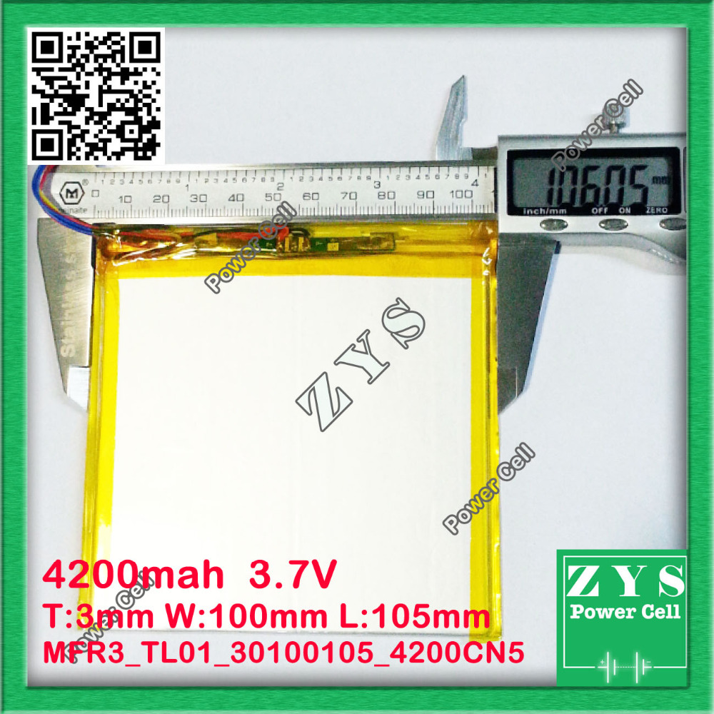 30100105 3.7V 4200mah Lithium polymer Battery with Protection Board For PDA Tablet PCs Digital Products 5 pin Free Shipping