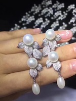 long earring natural fresh water pearl drop earring 925 sterling silver with cubic zircon leaf earring fashion women jewelry