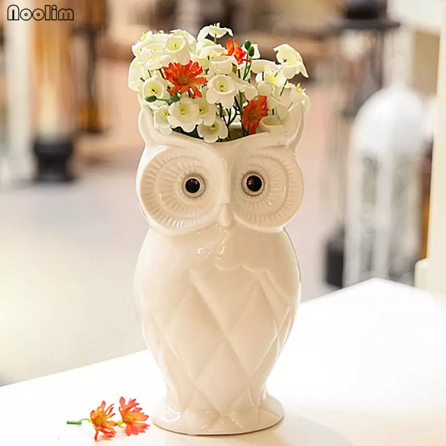Noolim Ceramic Creative White Owl Vase Home Living Room Decoration Flower Dried Flowers Container Crafts