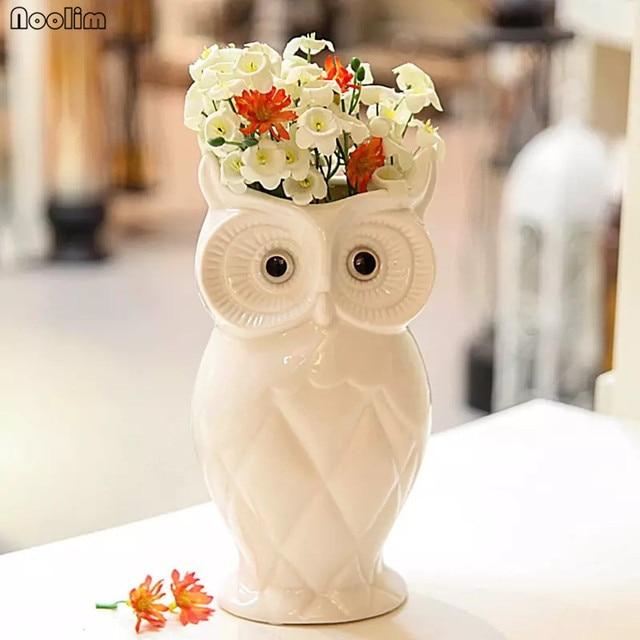 Noolim Ceramic Creative White Owl Vase Home Living Room Decoration