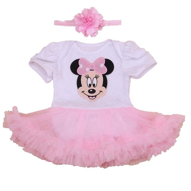 Applique Minnie Bodysuit Macacão de Renda Petti Vestido Tutu Conjuntos Ropa de Bebe Criança 2016 Do Bebê Da Menina Roupas de Verão Roupa Infantil