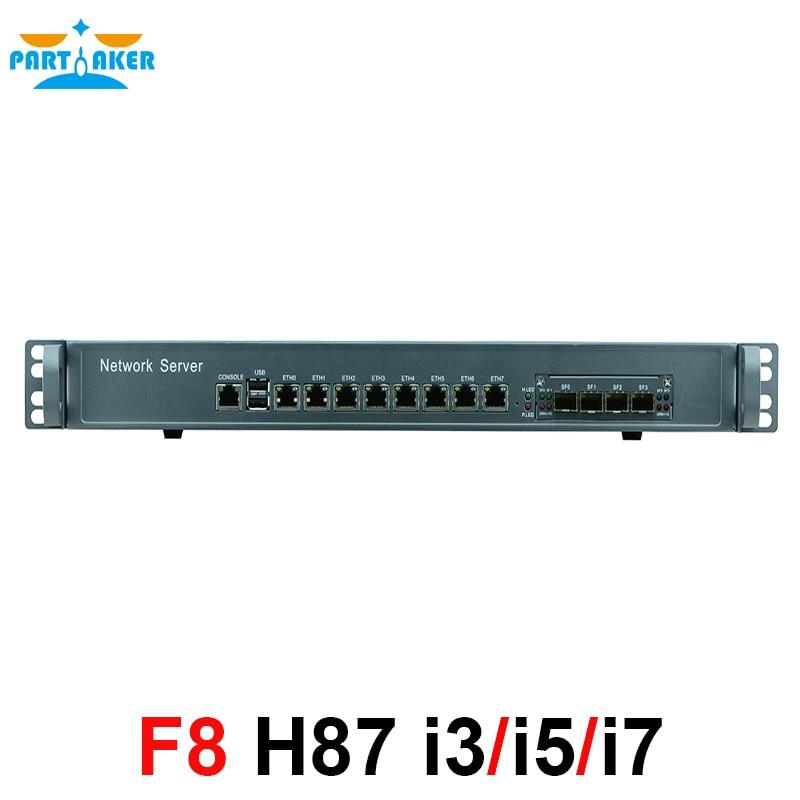 Intel i3 4160 3.6 ghz Mikrotik PFSense ROS Wayos 1U Cas Réseau Routeur Pare-Feu avec 8 ports Gigabit lan 4 SPF