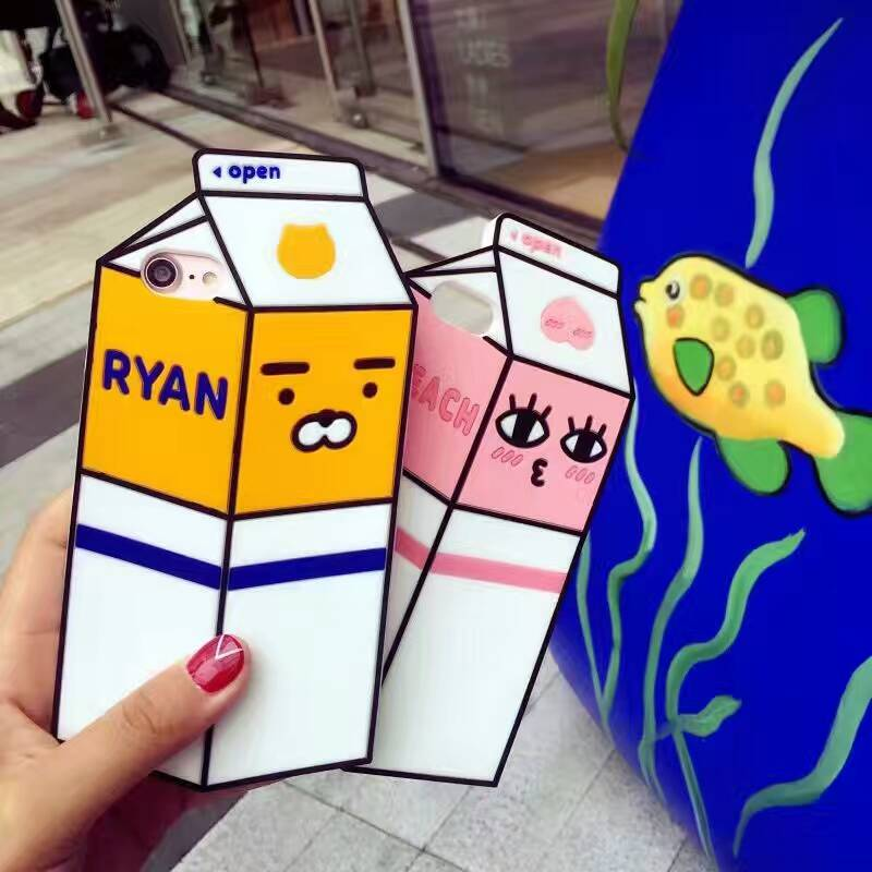 3d kakao milk box silicone case for iphone 7 7plus 6 6s
