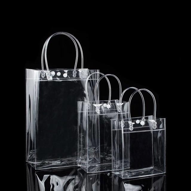 12 tamanhos PVC dom sacos de plástico com alças de plástico sacos de embalagem de vinho claro bolsa favores do partido saco Sacos de PVC transparente