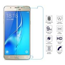 กระจกนิรภัยบนสำหรับ Samsung Galaxy J3 J5 J7 A3 A5 A7 2015 2016 2017 2018 ป้องกัน Glas หน้าจอป้องกันฟิล์ม
