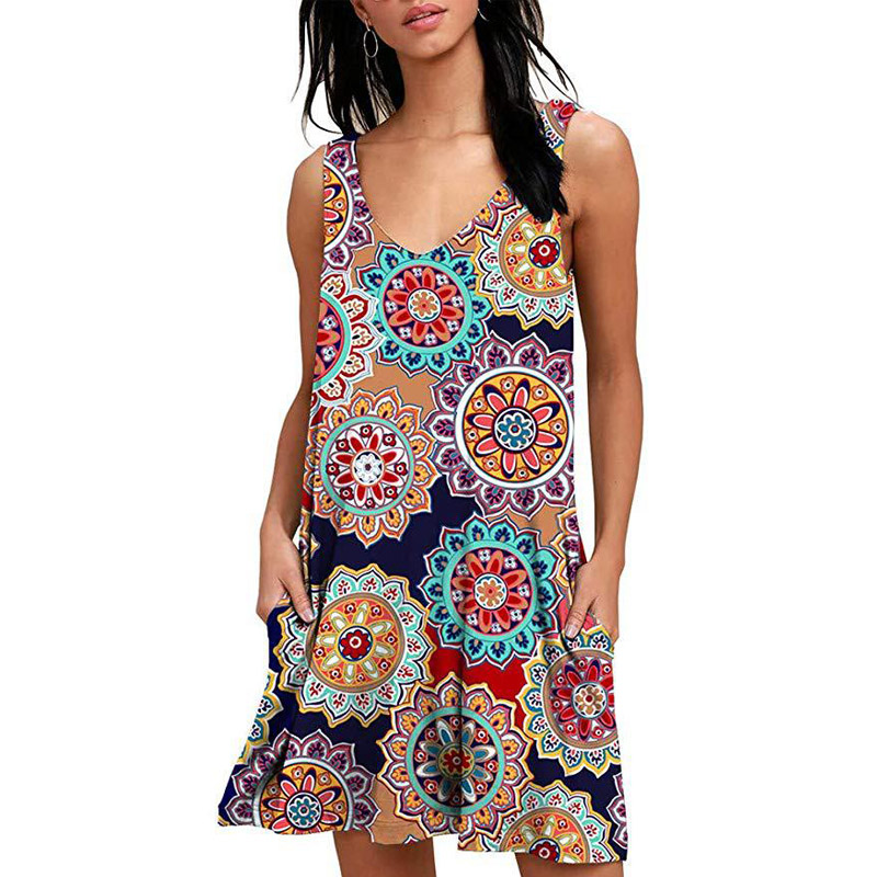 HOT 2019 Women Beach Dresses Summer Ladies Casual Loose Cover Ups Rose Print Sleeveless Pocket Beachwear Mini Bathing Suit