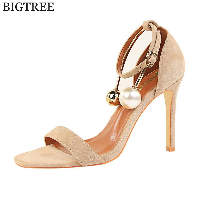 Roman Style Summer Shoes Women Tassel high heels sandals women Pearl Beaded Ankle straps Stiletto/Party Wedding pumps Shoes k200 wholesale lttl new spring summer high heels shoes stiletto heel flock pointed toe sandals fashion ankle straps women party shoes