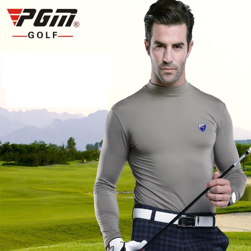 PGM Golf Shirt Mens Anti Pilling Cotton Keep Warm Fall Sports Long Sleeve Shirt Brand Golf Clothing Men Free Shipping