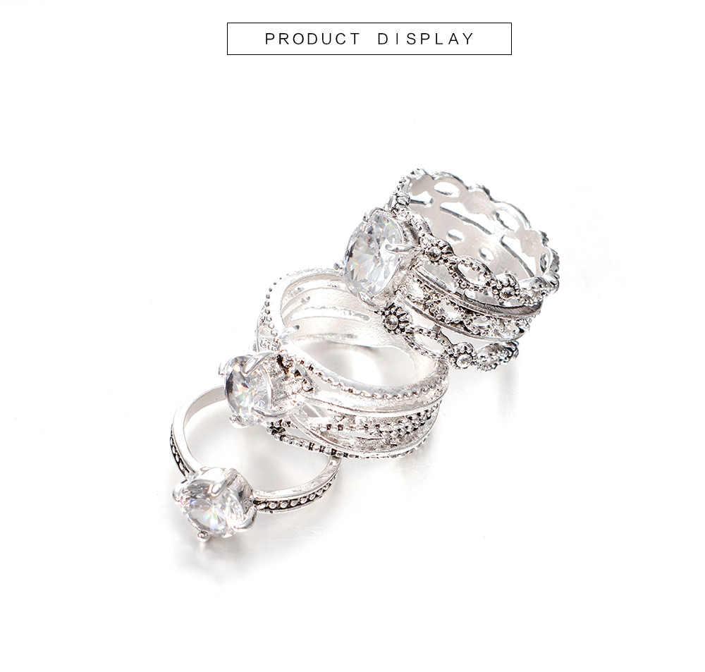 WLP 3 Pçs/set Junta Mão Conjunto de cristal Anel de Dedo Do Vintage folha Do Coração Da Coroa Anéis Étnica Boho Bohemia Knuckle Anéis para mulheres