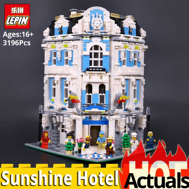 Lepin 15018 MOC The Sunshine Hotel Model set Building Blocks Bricks Toys for children Educational toy DIY gift legoinglys City huimei city rail car diy model big building blocks bricks baby early educational learning gift toys for kids children