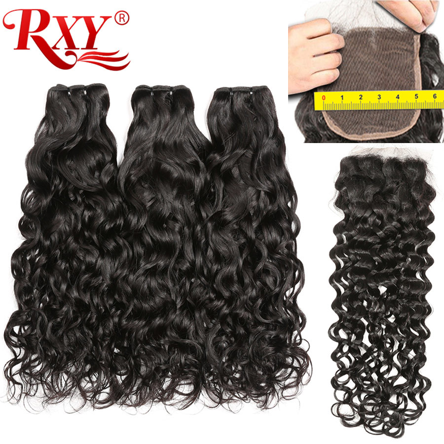Water Wave Bundles With Closure 5x5 Lace Closure RXY Brazilian Human Hair Weave Bundles With Closure