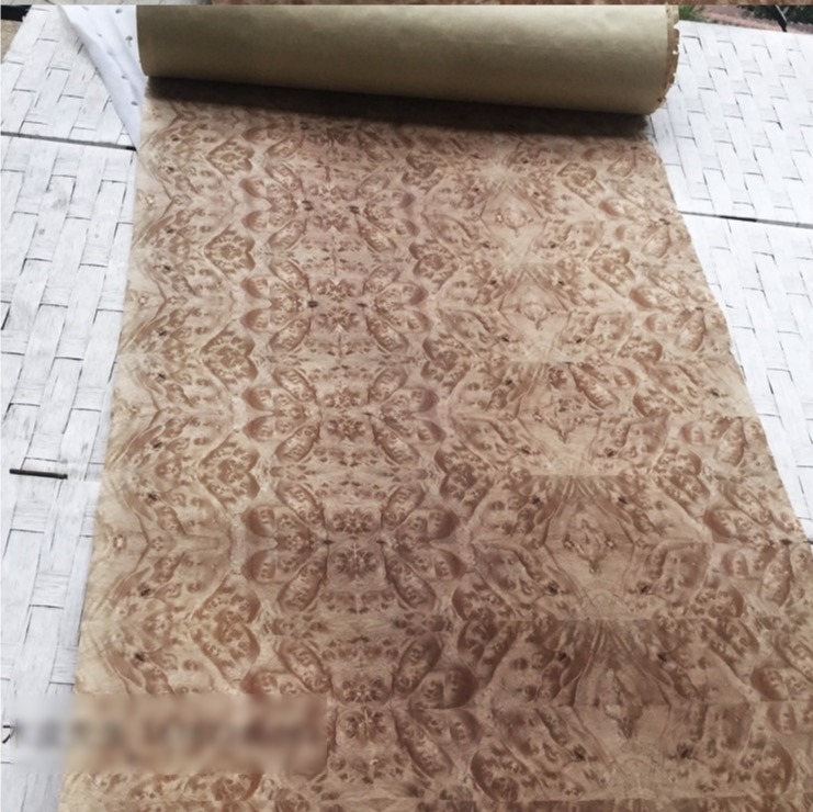 2.5Meter/pcs  Width:55cm  Thickness:0.3mm  Vintage Fragrant Tree Splicing Wood Veneer Decoration(back Side Kraft Paper)