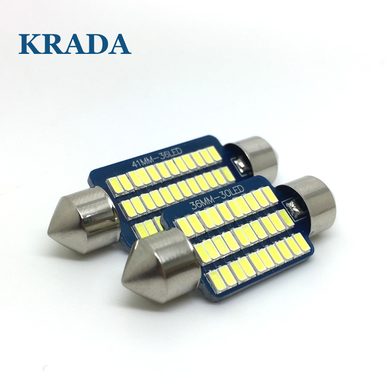 KRADA 1pcs Car Festoon C5W canbus LED Bulb 28MM 31MM 36MM 39MM 41MM Car Auto Led Interior Roof Reading Dome Light Lamp Bulb 12v festoon 36mm 1 8w 180lm 9 x smd 5050 led white light car reading roof dome lamp 12v pair