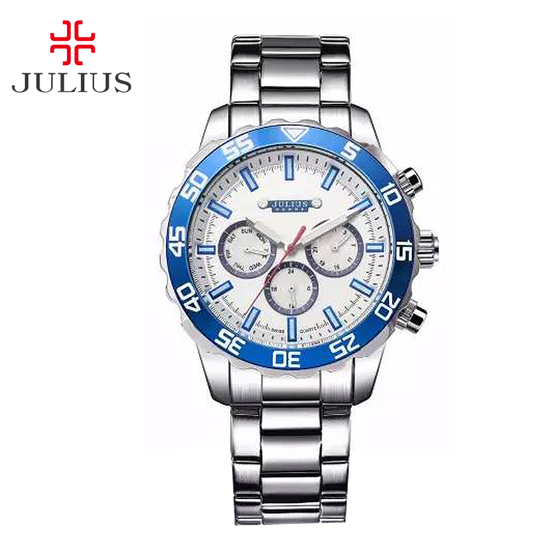 New Julius Men's Homme Wrist Watch Fashion Hours Dress Bracelet ISA Mov Stainless Steel Business School Boy Birthday Gift 096 real functions men s watch isa mov t hours clock fine fashion dress stainless steel bracelet boy s birthday gift julius page 8