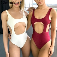 Glamaker Sexy Front Side Cut Out Women Bodysuit Overalls Backless Halter Summer Bodysuit Beach Elastic Bodycon