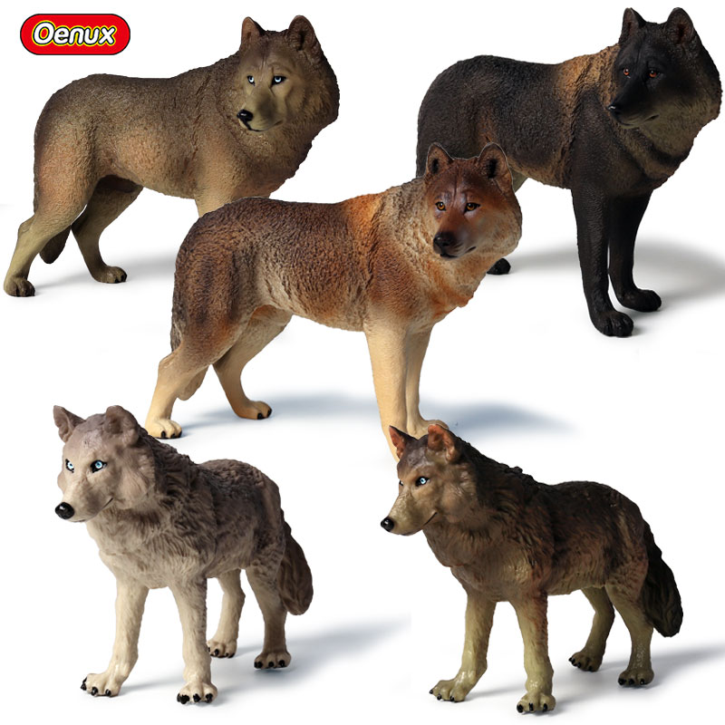 Oenux Toy Animals Model Action-Figures Collection Female Wolf PVC Wolves Savage Large-Size