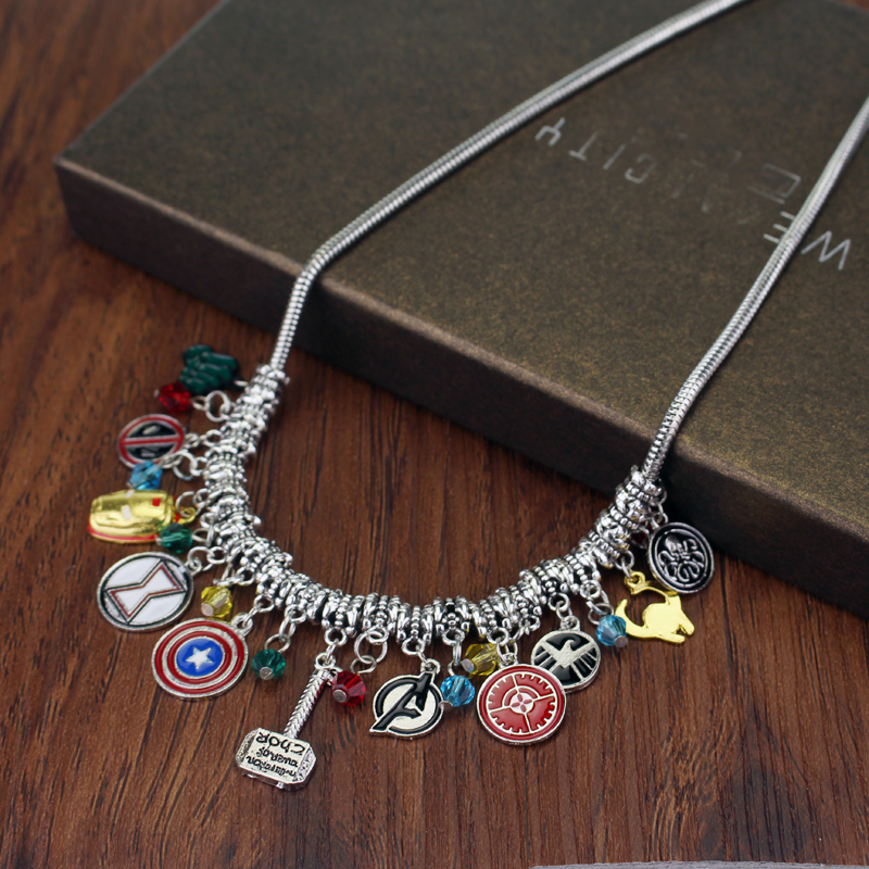DIY Jewelry Avengers Captain America Shield Iron Man Mask Thors Hammer Eagle Deadpool Hulk Crystal Beads Charm Pendent Necklace