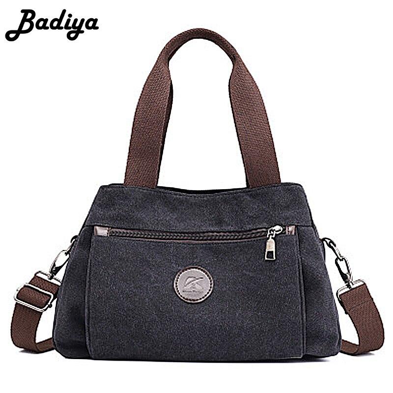 Fashion Women Canvas Handbag Casual Female Phone Money Pouch Single Strap Shoulder Bag Solid Multi-zipper Design