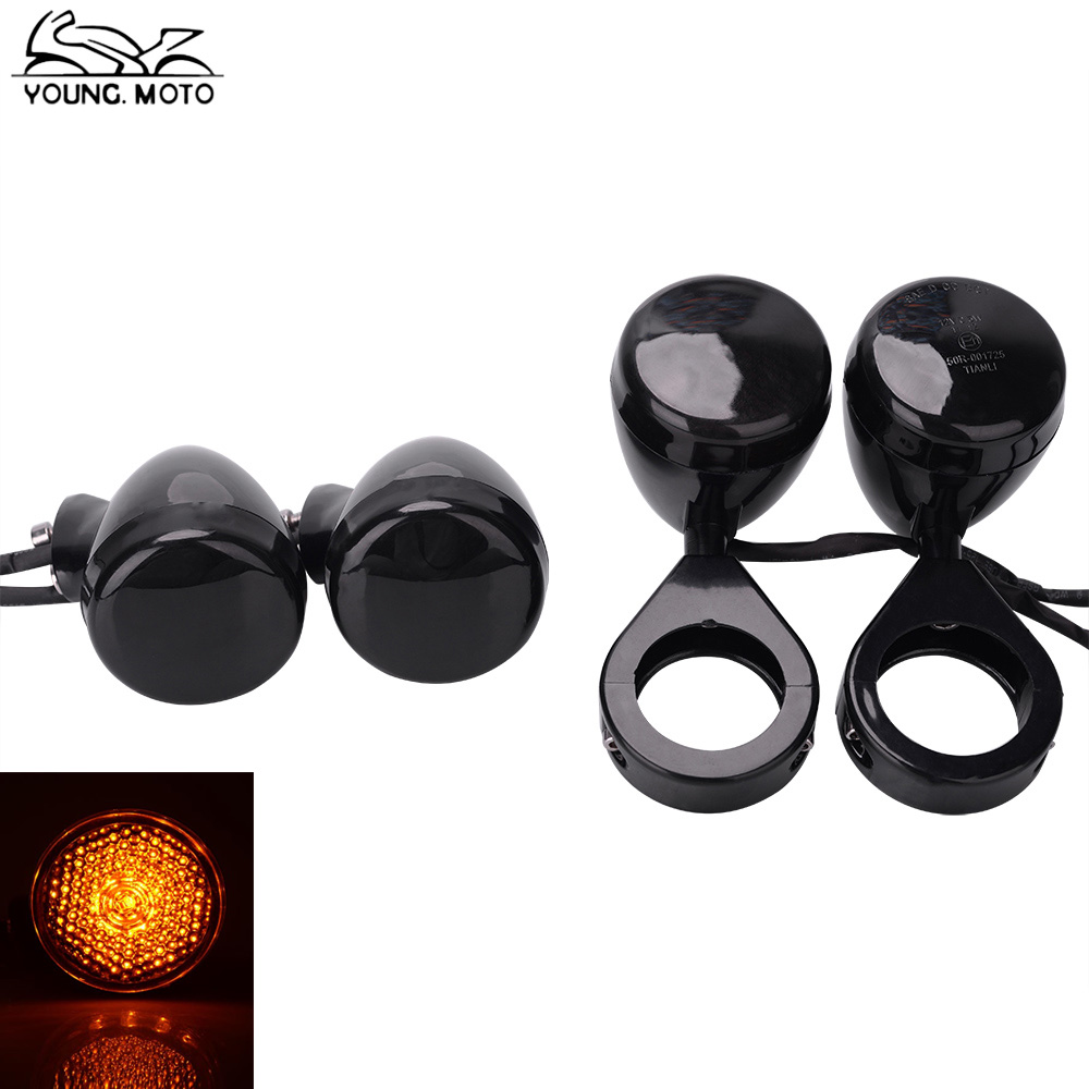YOUNG.MOTO 39mm 41mm Black Chrome Bullet Front Rear LED Turn Signal Light Indicator Smoke Clear Orange Lens For Harley Sportster
