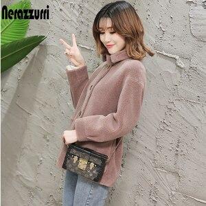 Image 1 - Nerazzurri womens sheepskin coats winter warm plus size plush faux fur coat regular beige lamb wool teddy bear jacket woman 5xl