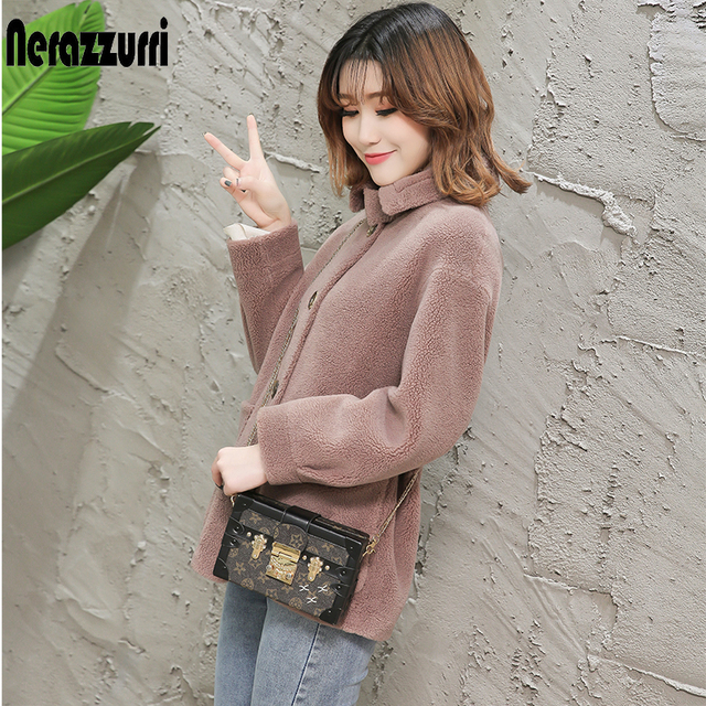 Nerazzurri womens sheepskin coats winter warm plus size plush faux fur coat regular beige lamb wool teddy bear jacket woman 5xl