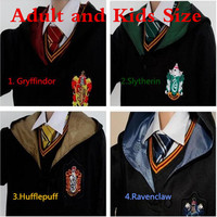 Halloween Adult Kids Harri Potter Cosplay Costumes Harri Robes Tie Gryffindor Ravenclaw Mantle Slytherin Hufflepuff Cloaks