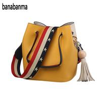 Banabanma Fashion Colorful Strap Bucket Bag Women High Quality Pu Leather Shoulder Bag Brand Ladies Crossbody