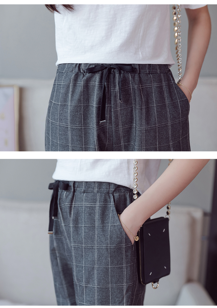 Make English plaid pants female easy to restore ancient ways recreational pants the spring and autumn period and the new female 16