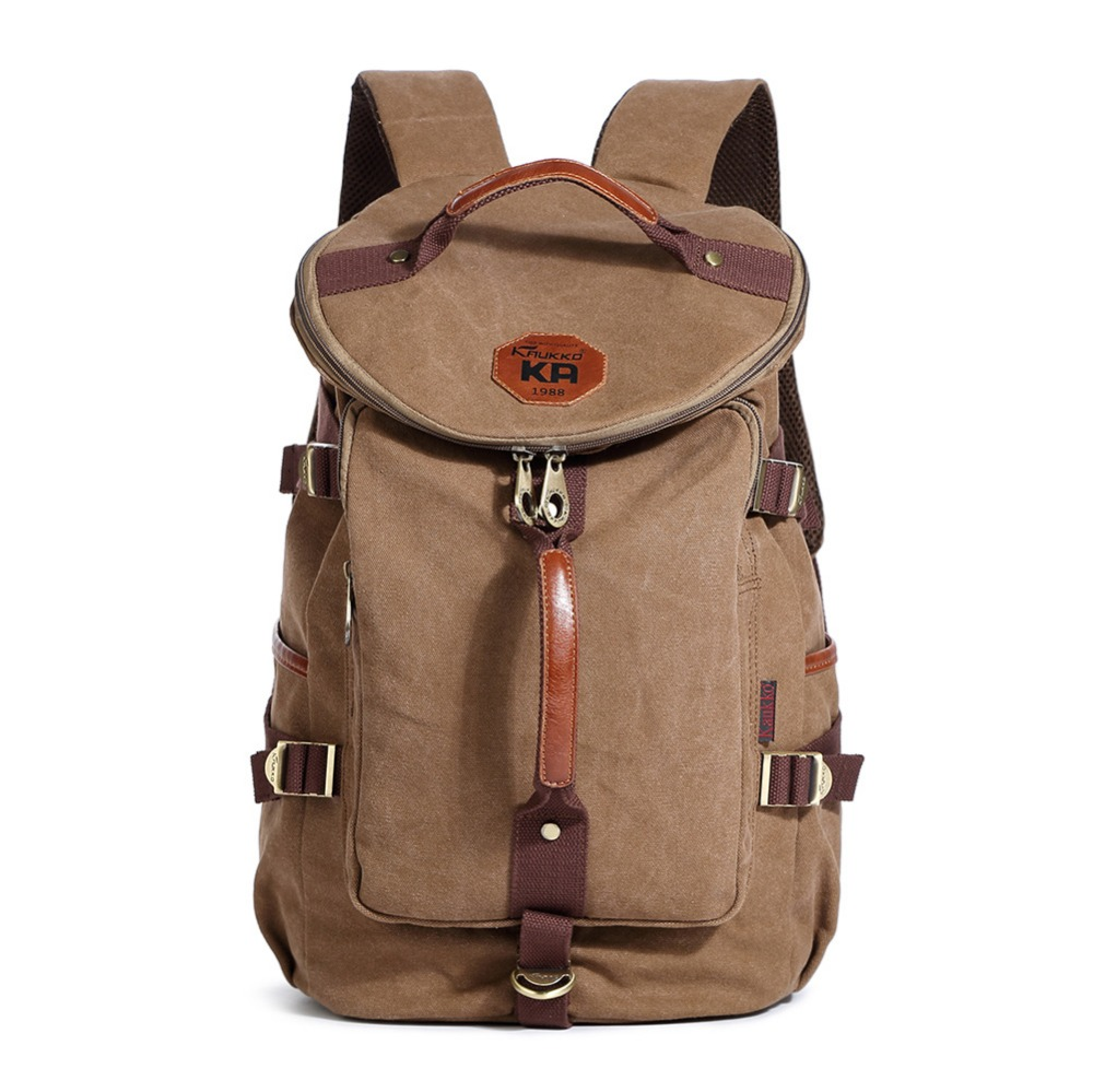 KAUKKO Vintage Backpack Fashion Canvas Backpack Leisure Travel School Bags Backpacks Men's Mountaineering Multi-pocket Backpack цены онлайн