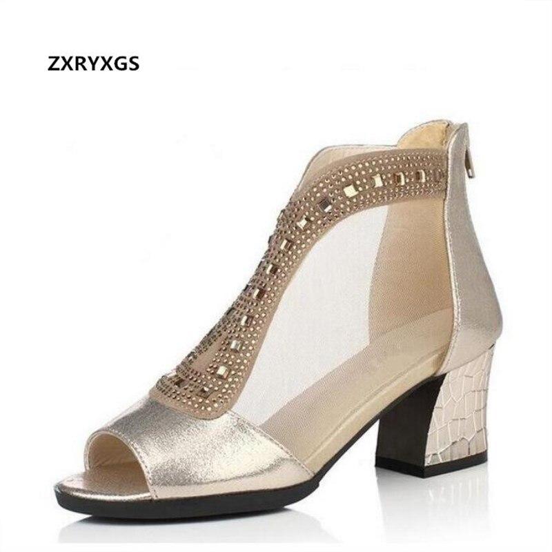 New Rhinestone mesh fish head summer women sandals 2019 summer high heels shoes woman genuine leather sandals fashion shoes