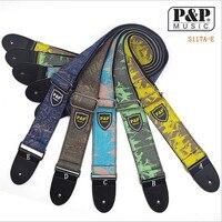 P & P S117 베이클라이트 기타 스트랩 인쇄 데님 코튼 기타 스트랩 리본 악기