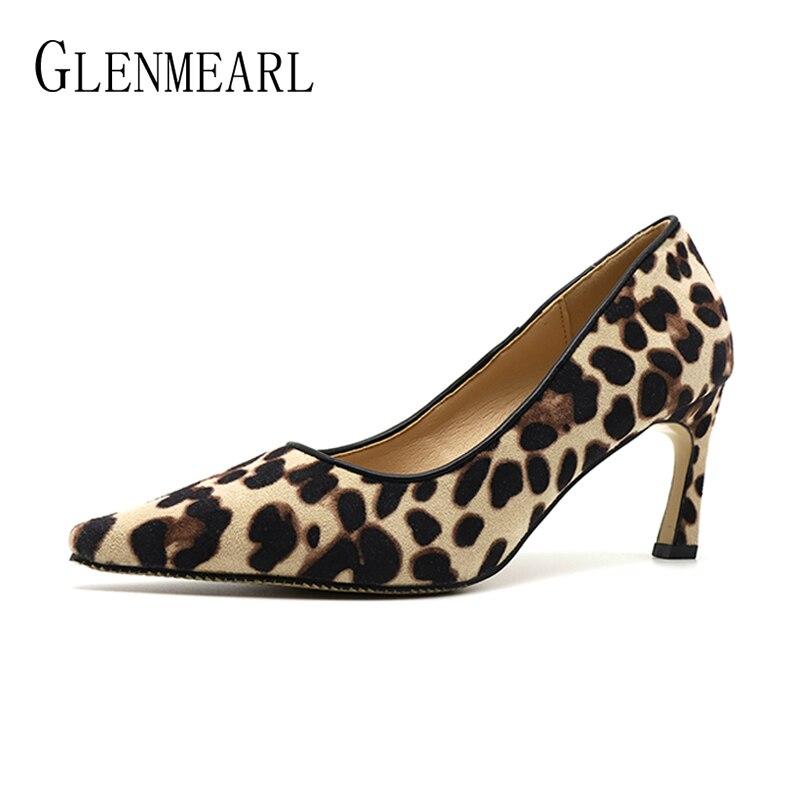 Brand Women Shoes High Heels Woman Pumps Sexy Leopard Party Shoes Pointed Toe Hoof Heel Female Dress Shoes Spring Plus Size DE basic pump