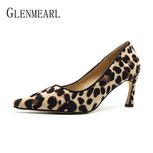 цена на Brand Women Shoes High Heels Woman Pumps Sexy Leopard Party Shoes Pointed Toe Hoof Heel Female Dress Shoes Spring Plus Size DE