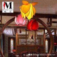 Chinese cloth lotus leaf pendant light dining room restaurant decoration lamp classical imitation cloth red lantern lotus ZS119