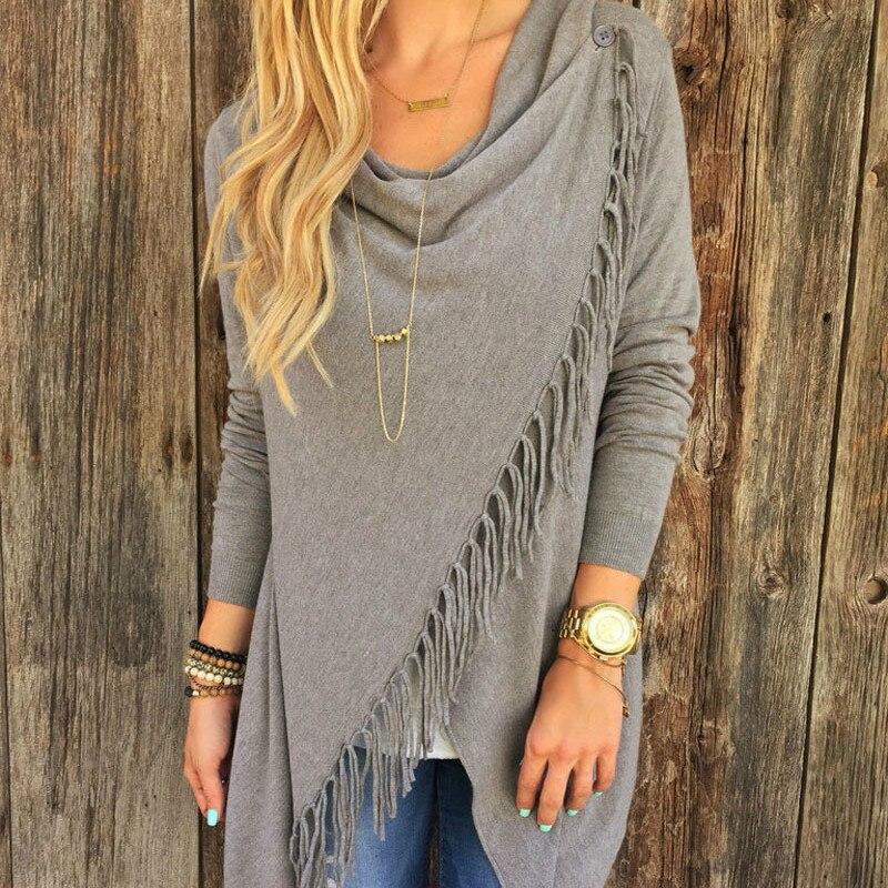 Cardigan Women Spring 2019 Long Sleeve Lady's Sweater Loose Hem Tassel Cardigan Sweater For Women Lagre Size