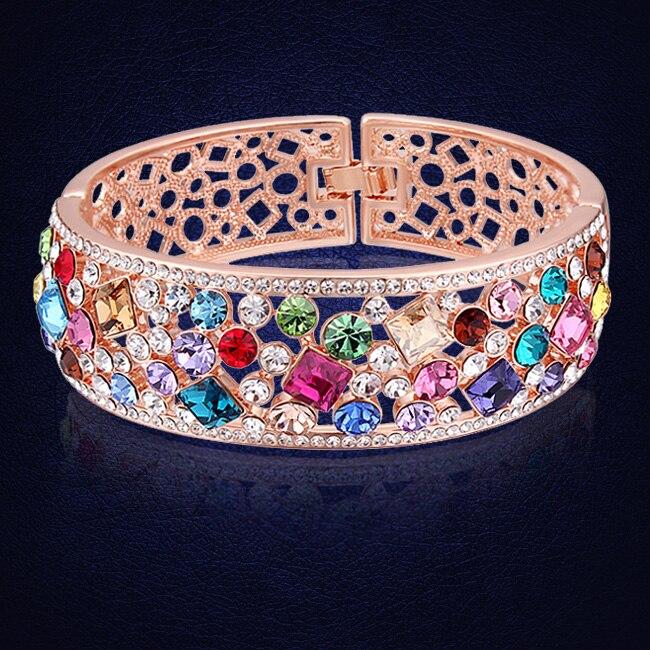 US $20 94 45% OFF New Styles Bracelets & Bangles Colorful Crystals From  Swarovski Indian Women Bracelet Wedding Jewelry Pulseira Feminina-in  Bangles
