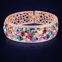 Yeni Gelen Stilleri Bilezik ve Bilezik 2016 Renkli Kristaller Swarovski Hint Kadın Bilezik Düğün Takı Pulseira Feminina