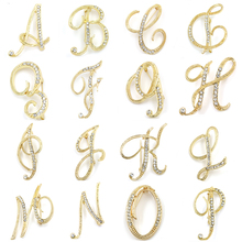 WEIMANJINGDIAN Brand Letters A to M Clear Crystal Rhinestone Brooch Pins  for Women Jewelry in Gold cb31a766fab9