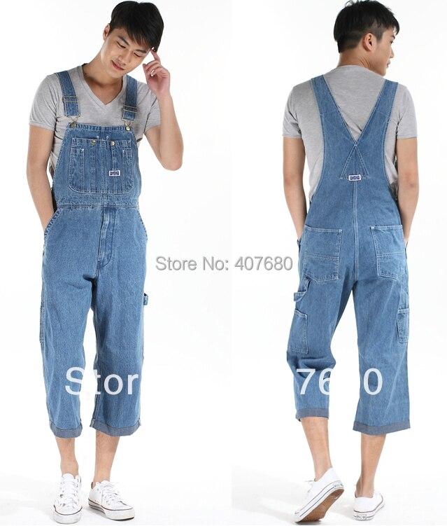 Verano Hombres Casual Denim Monos Tirantes Azul Claro Pantalones De Carga Mas Tamano Jardinero Capris Tamano 36 42 Xxxxl Bib Pants Light Bluelight Pants Aliexpress