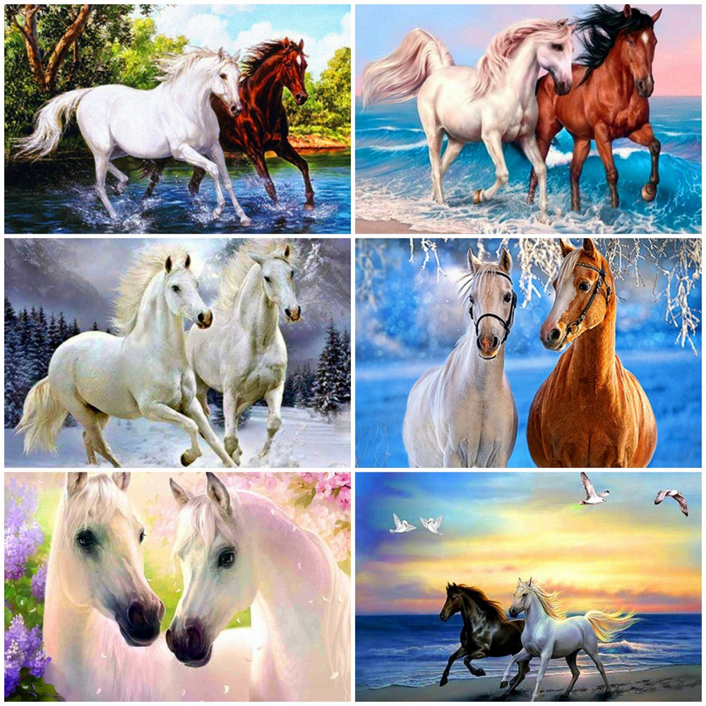 Evershine 5D Diamond Painting Full Drill Square Animals Cross Stitch Diamond Embroidery Sale Horse Rhinestones Pictures Beadwork