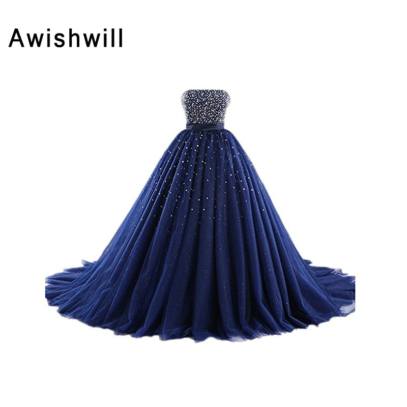 Real Made Evening Gown For Party Fomral Prom Dress Robe de Soiree Vestido de festa Puffy Ball Gown Evening Dresses 2019