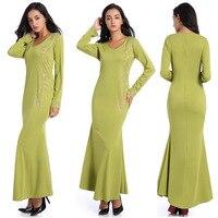 Amazon automne fruits vert à manches longues casual robe en queue de poisson fleur de vent pierre