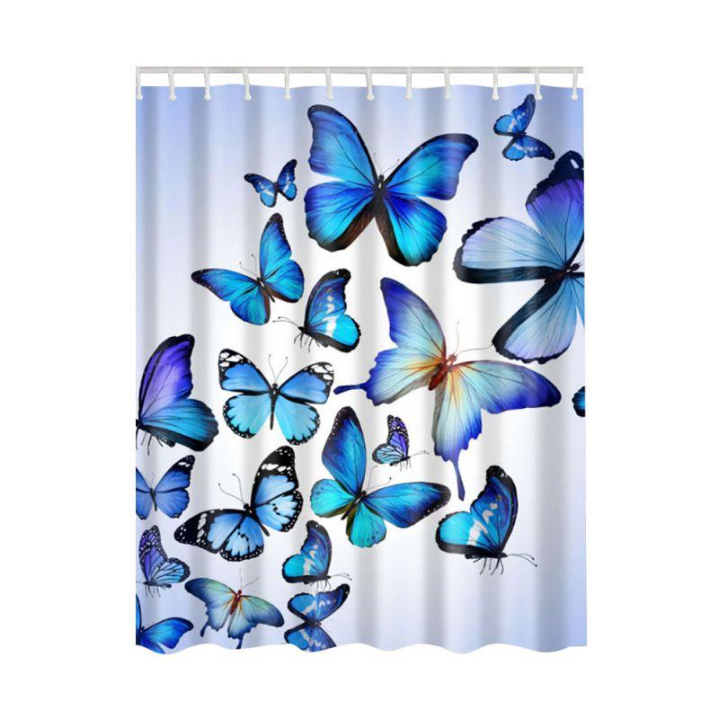 1 pcs tanche tissu color motif papillon femmes corps salle de bains rideau de douche avec - Rideau De Douche Color