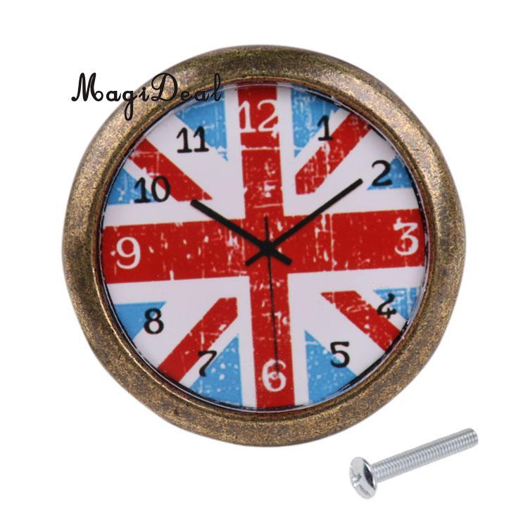 MagiDeal Vintage US UK Flag Uhr Diamant kristallknopf schranktür ...