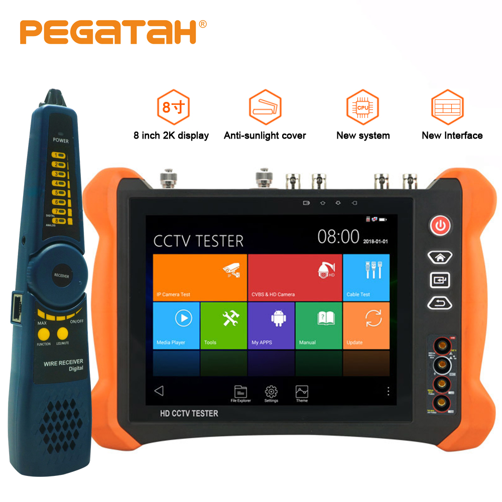 8 Inch 4k 8mp Ip Cctv Camera Tester Cvbs Tvi Cvi 5mp Ahd Sdi Audio Signal Injector Tracer With Hdmi Opmtdr Test Multimeter In Monitor Display