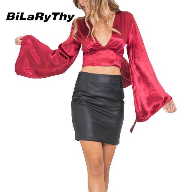 Bilarythy primavera outono da forma do vintage das mulheres v profundo neck magro tops sexy longas topos das culturas de manga flare sólidos t camisa